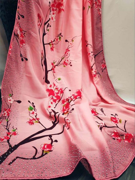 New Eye Catcher Pink Color Silk Digital Printed Saree with stone work