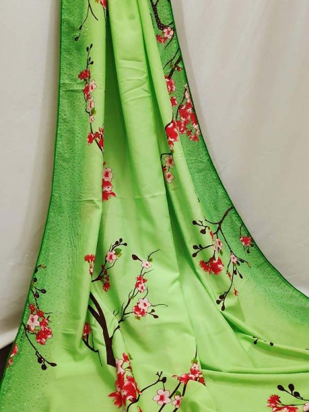 New Eye Catcher Green Color Silk Digital Printed Saree with stone work