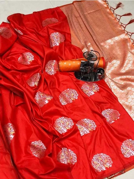 Graceful combination for Wedding Look Red Color Lichi Silk Weaving Jecard Saree With Beautiful Wiaving Blouse