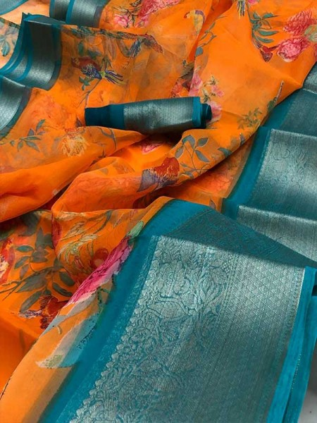 Multi Color Organza   With Excellent Colour Combinations With Latest Colouring Techniques  Saree
