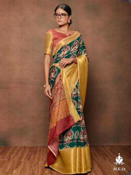 Elegance Look Multi Colored Cotton Maheshwari Kanchi Pattu  Saree