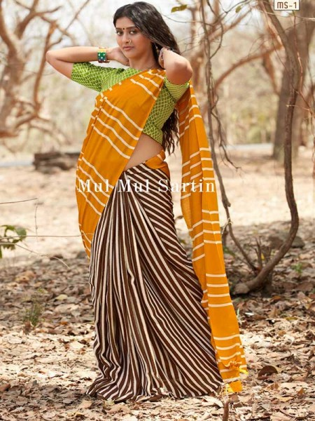 Classic Look Yellow Color Pure Sattin Silk With Floral Print Saree