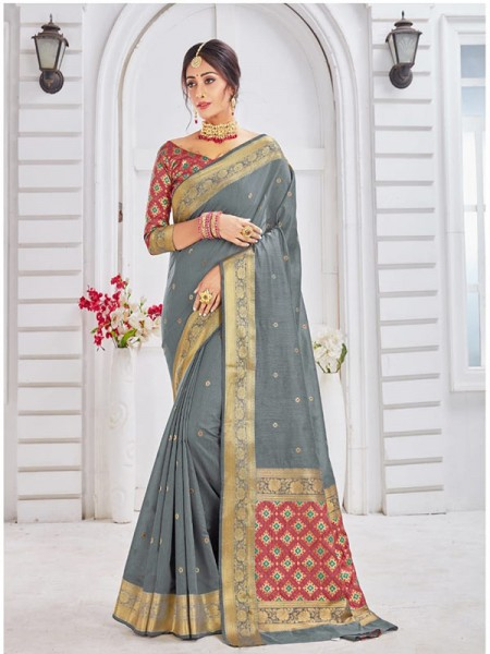 New Trending Grey Colour Soft Weaving Cotton With Patola pallu