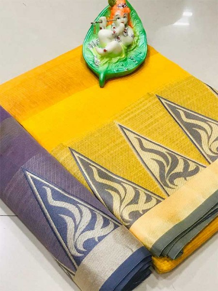 Elegance Look Yellow Colour Cotton Saree with weaving border
