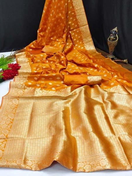 Latest Banarasi Silk Saree with Rich Pallu Awesome and Gorgeous Antique Weaving Finish Gold Zari