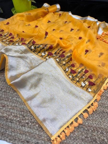 Gorgeous Look Organza weaving border Silk Saree with silver Border