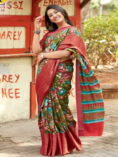 Stunning Multi Color Handloom weaving Printed Linen Saree