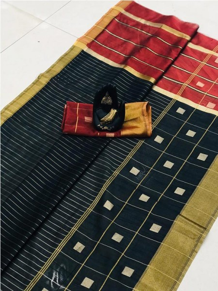 Latest Traditional Look Black Color Soft & Pure Silk Saree With Beautiful Zari Weaving Golden Border