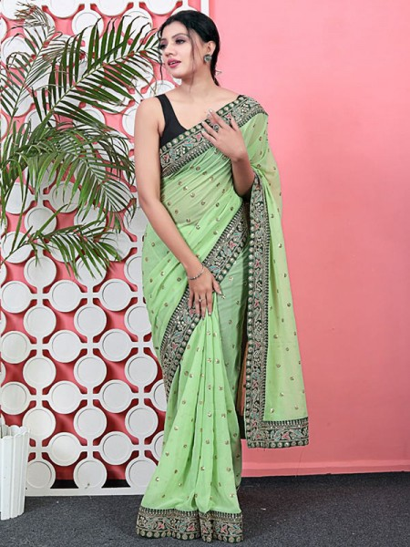 Classic Look Georgette Saree with sequencing buttis