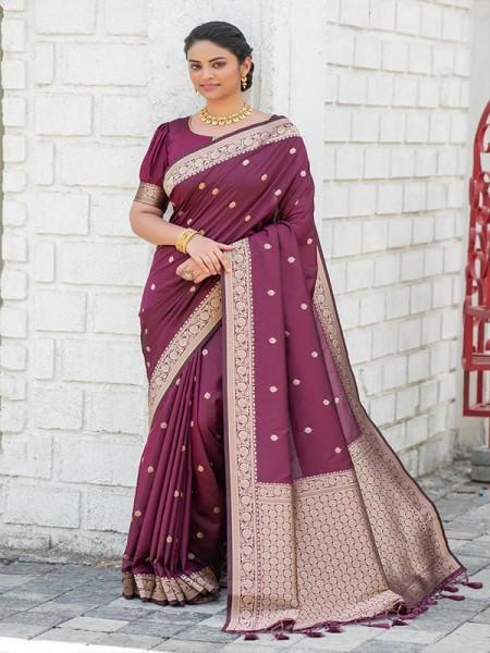 Modern Look Banarasi Silk Saree with AllOver Zari Butti Weaves with Gorgeous Pallu