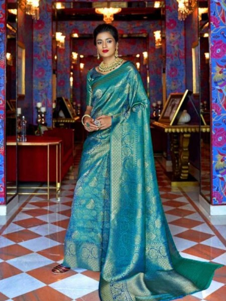 Wedding Designer Cyan Color pure silk weaving Saree with excellent soft texture