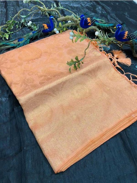 Stunning Look Orange Colour Pure Banarasi Silk with pure golden Jari yarn saree