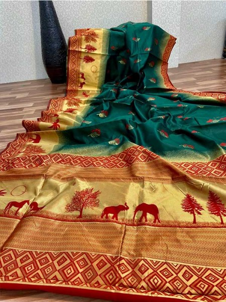 Stunning Look Green Colour Soft Banarasi silk weaving saree