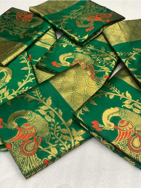 Latest Traditional Look Green Color Pure  Silk Mina Work  Saree
