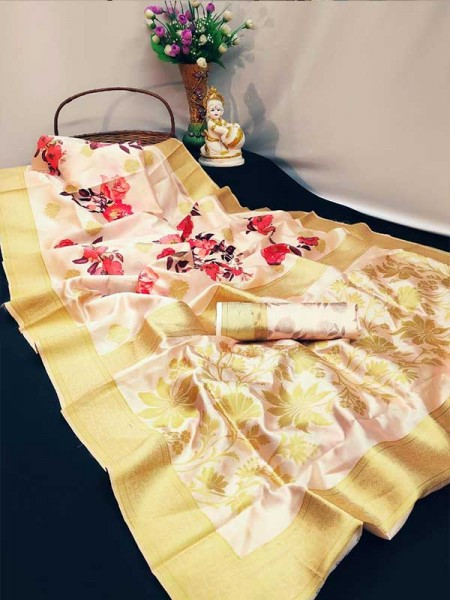 Stunning Look Multi Colour Soft Banarasi silk weaving saree