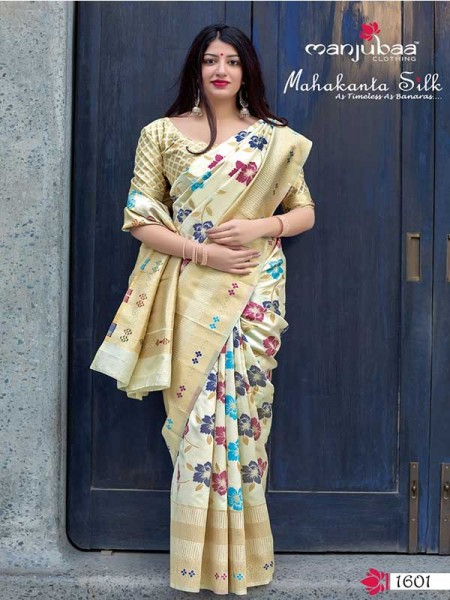 Latest Traditional Look White Color Pure Jamdani Silk with Minakari Weaving Saree