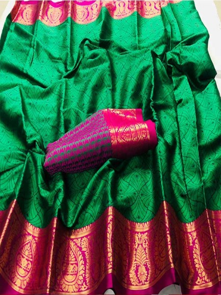 New Trending Green Color Cotton Silk Saree