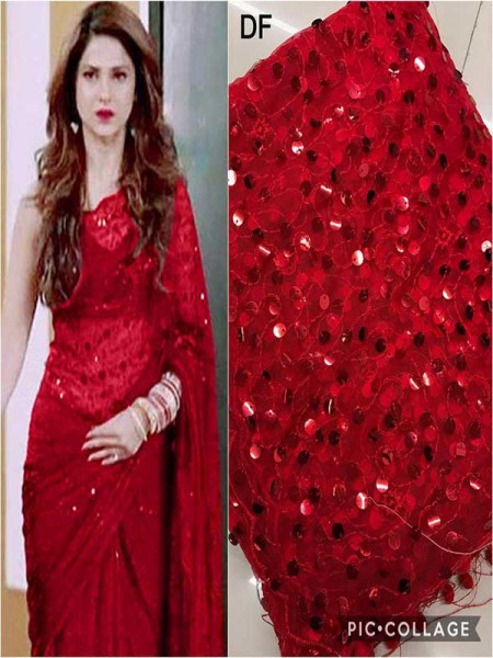 Elegance Look Red Colored Net Saree With  Banglori Silk Blouse