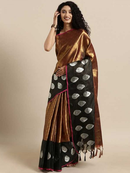 Golden  Colour Gold-Toned Tissue Kanjeevaram Saree