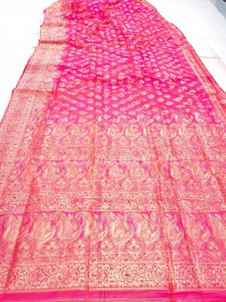Stunning Look Pink Colour Soft Banarasi Silk Weaving Saree