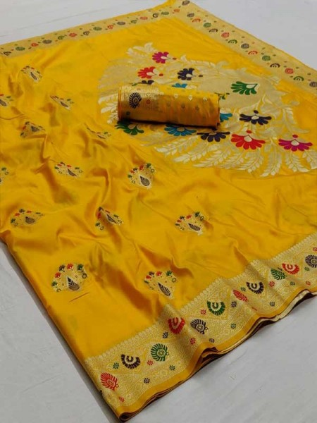 New Eye Catcher Yellow Color Soft Weaving Silk With Exclusive Meena Work Saree