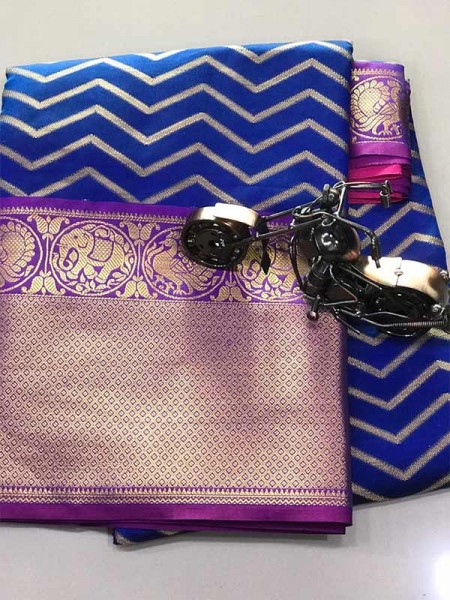 Blue Colour Kanchipuram style Banaras weaving Silk Saree with Golden zari Border