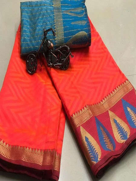 Elegance Look Red Colour Cotton Saree with weaving border