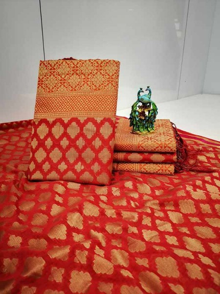 Stunning Red Color Soft Cotton Silk Saree with weaving