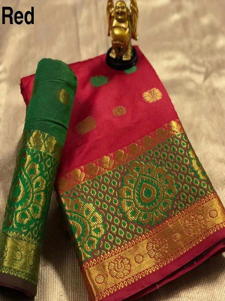 Stunning Red Color Pure Cotton Silk Saree