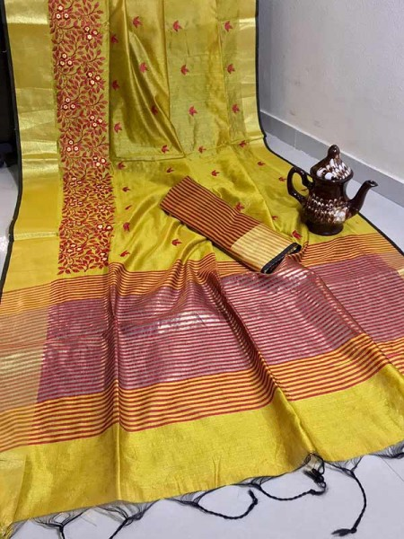 Graceful Look Yellow Color Crystal Silk Saree with Embroidered work