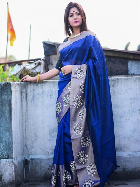 Designer Look Blue Color Raw Silk weaving saree with embroidery butta