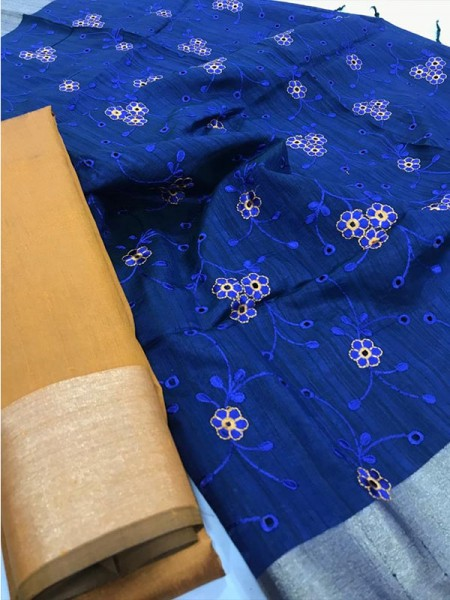 Attractive Look Blue Colour Banglori Raw Silk Saree with Embroidered Cut Work