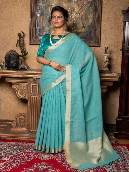 Unique Style SkyBlue Color Pure Linen Saree with different beautiful designs