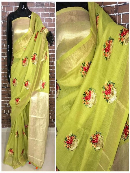 Latest Modern Green Color Linen Saree with embroidered work all over