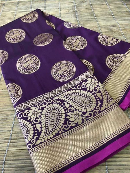 Wedding Look Purple Color Banarsi Silk with Silver zari Saree