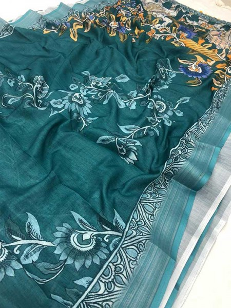 Beautiful Look Multi Color Linen Embodying Of Vastness Of Bright  Sarees