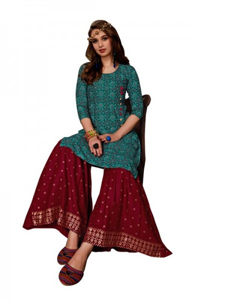 Trending Cyan Colour Heavy Foil Print Top with Matching Sharara