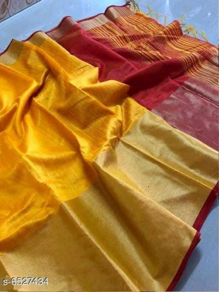 Yellow Colour Raw Silk Saree With Contrast Pallu And Blouse Piece