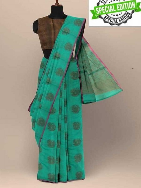 Elegance Look Cyan Colour Soft Cotton Silk Saree