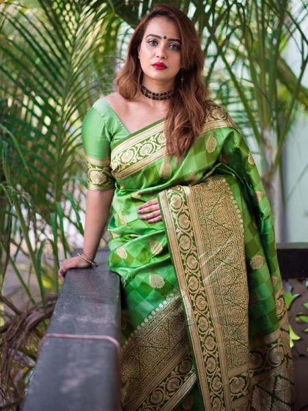 Green  Colour Banarasi Silk Weaving Saree with Fabulous Checks Weaes All over Contrast Border and Exclusive Pallu