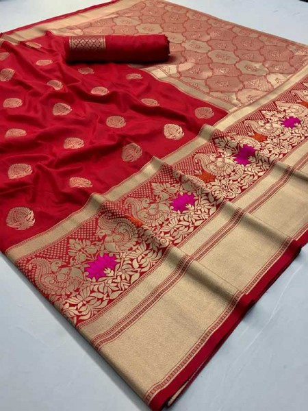 New Eye Catcher Red Color Pure & Soft Silk With Beautiful Mina Saree