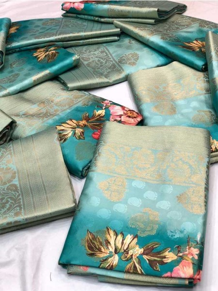 Festival Look SkyBlue color Pure Jacquard Linen Fabric Flower Printed Saree