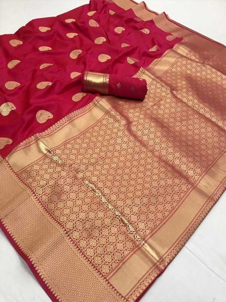 Latest Traditional Look Maroon Color Soft Silk Weaving Saree