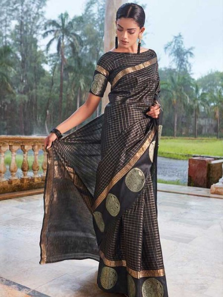 Stunning Black Color Soft Linen Silk Saree