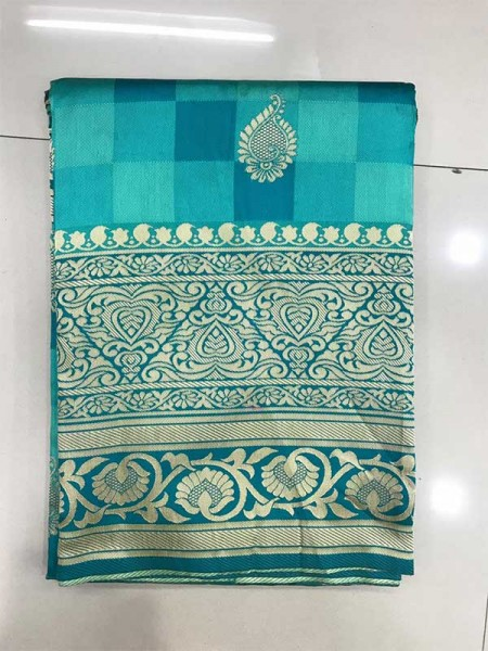 CyanColour Banarasi Silk Weaving Saree with Fabulous Checks Weaes All over Contrast Border and Exclusive Pallu