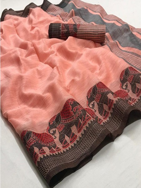 Eye-Catching Look Peach color Soft Linen Silk Saree with Beautiful Hathi Border