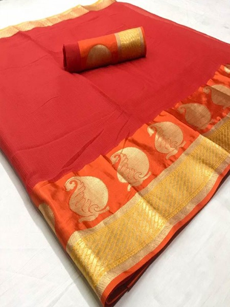 Stunning Look Red Color Dola Dodiya Cotton Silk Saree