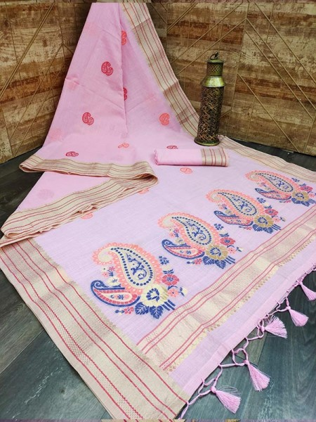 Attractive Look Pure Linen Saree with colorful Pallu and Zari Woven border