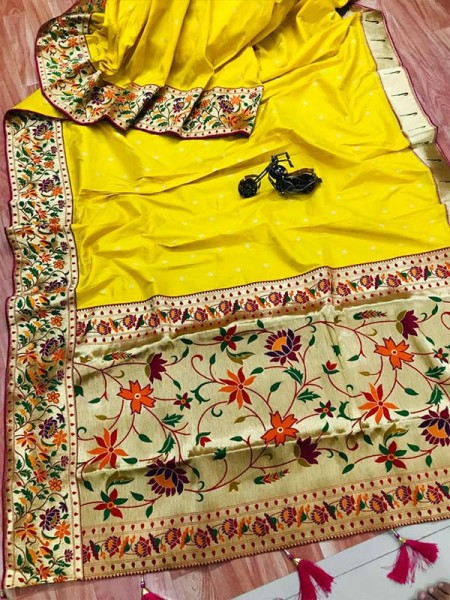 Function wear Yellow color Pure Kanchipuram Silk Saree