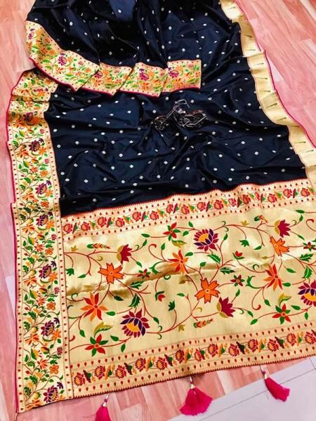 Function wear Black color Pure Kanchipuram Silk Saree